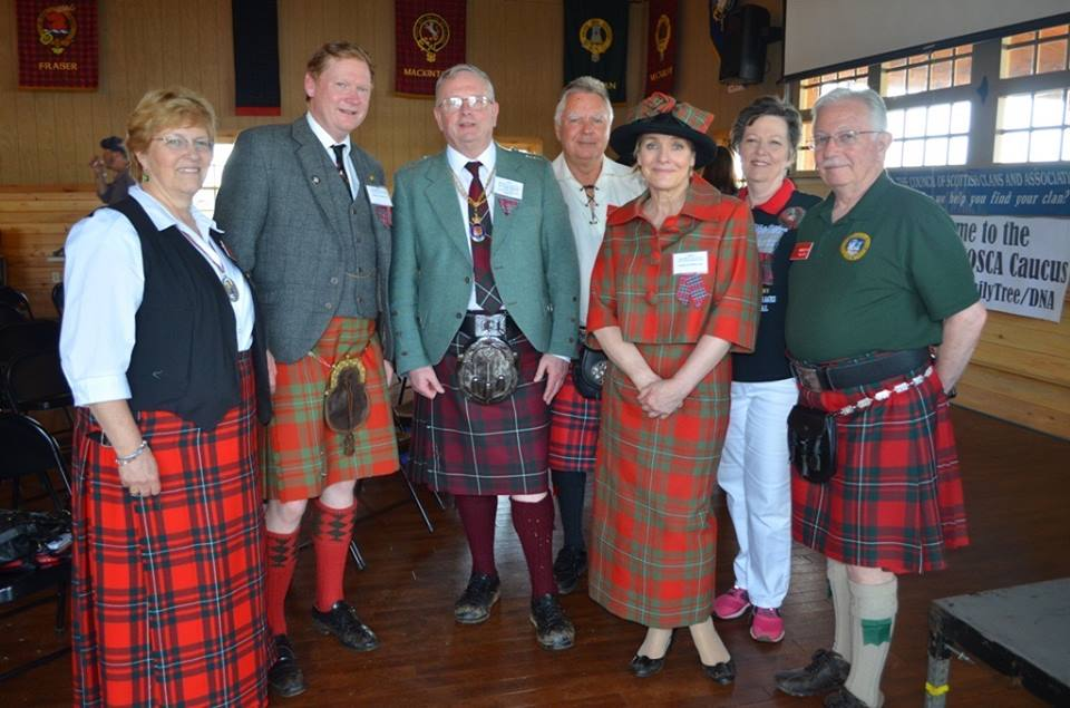 ACGS Chieftain Lois Ann Garlitz, Sir Malcolm MacGregor, Chief of Clan Gregor, Lord Lyon, Joseph Morrow, ACGS Treasurer, Dr. Bruce M. Whyte, Lady Fiona MacGregor, ACGS Member, Teresa Walker, ACGS Ranking Deputy Chieftain, Randolph Walker - Annual Meeting of Council of Scottish Clans & Associations